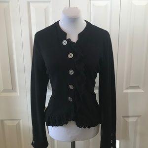Xhilaration Black Lace Ruffle Front jacket Blazer